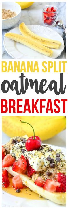 Healthy, delicious and nutritious Oatmeal Breakfast that is a fun breakfast recipe. Make our banana split oatmeal breakfast.   via @CourtneysSweets
