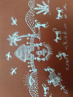 Warli nature scene Worli Painting, Basic Painting, Sketch Painting, Madhubani Art, Madhubani Painting, Monochromatic Art, African Art Paintings, Krishna Painting, Indian Folk Art