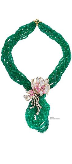 Farah Khan Zambian Emerald with Flower Pendant Necklace