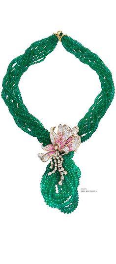 Farah Khan Zambian Emerald with Flower Pendant Necklace
