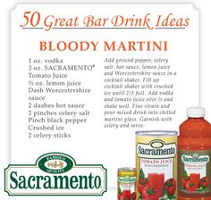 50 Great Bar Drink Ideas using Sacramento Juice Products