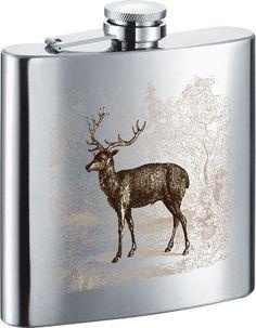 Visol Deer in Clearing Stainless Steel 7oz Hip Flask