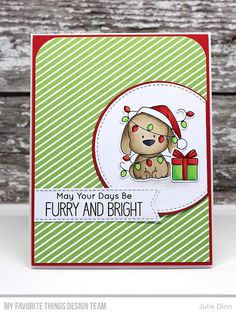 Stamps: Happy Pawlidays Dienamics: Happy Pawlidays, Stitched Circle STAX, Circle STAX 2, Stitched Fishtail Sentiment Strips Julie Dinn #mftstamps