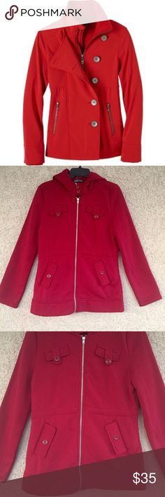 Maroon color Jacket Beautiful maroon color jacket . 1st pic is not actual item . Just to give you the idea . Please. See last 3 pics for exact color and details .      🖌Material is 100% polyester .  Feel free to ask any Q before you buy . Jackets & Coats Pea Coats