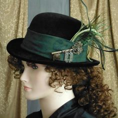 Black Steampunk Bowler Hat, Wide Dark Green with Black Brocade Band, with Key and Lock Ornament, plus Feather Poof