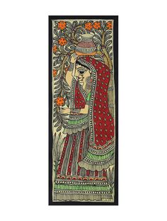 Buy Multicolor Village Lady Madhubani Painting (15in x 5.6in) Handmade Paper Paint Art Decorative The Craft Collector's Home An exquisite capsule of kalamkari cushion covers table linen and traditional paintings Online at Jaypore.com
