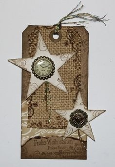 Jute-Tag - Daniela Rogall, gestaltet mit Stempelmotiven (Just Stamps Design), Jute, Kraftpaper, Sizzix-Stanzen, Magic Paper, Paper-Soft-Color, Acrylfarbe und Embellishment