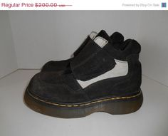 Vintage Clothing Online dr doc martens Vintage suede leather  size  US  90s Chunky   boots shoes Black white     rare unique   creepers