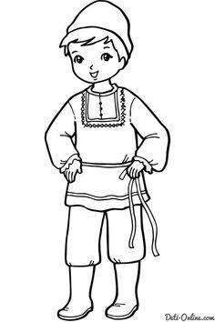 traditional multicultural coloring pages for kids Preschool Coloring Pages, Coloring Pages For Girls, Free Printable Coloring Pages, Free Coloring Pages, Boy Coloring, Coloring Books, Traditional Dress For Boy, Animated Cartoon Characters, Russian Boys