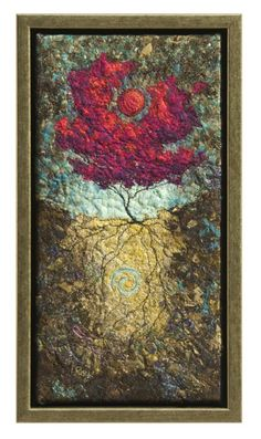 Catching the Sun #3, Lorraine Roy. Fabric collage, applique, and free motion machine embroidery.
