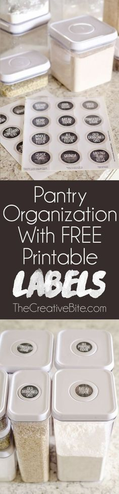 Kitchen Pantry Organization + Free Printable Labels are the perfect way to bring some cleanliness and order to your home! These easy to print labels can be used with baskets, containers, shelves or anything else to help organize your food.