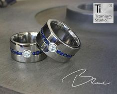 Titanium base rings with silver inlay and tube. Blue corundum full eternity inlay with moissanite centre stone. Gay Wedding Rings, Titanium Wedding Rings, Titanium Rings, Wedding Bands, Moissanite, Stone Rings, Cuff Bracelets, Centre, Tube