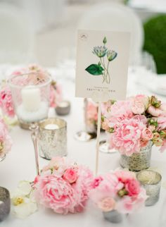 Peony table centerpieces: http://www.stylemepretty.com/2014/09/25/pink-peonies-in-the-south-of-france/ | Photography: Polly Alexandre Photography - http://alexandreweddings.com/