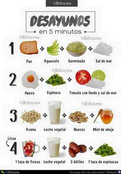 Desayunos saludables en 5 minutos de http://www.habitos.mx/