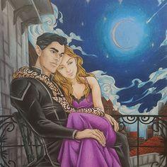 Favorite book mated couple! #charliebowater #sjmaas #sarahjmaas #feyre #rhysand #courtofdreams #velaris #love #ACOWAR #ACOTAR #acotarcoloringbook #coloringbook #coloredpencils #prismacolor