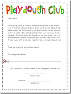 a roster of parents to make playdough for the classroom