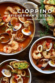 I have to say that this Cioppino (Fisherman's Stew) is the best soup/stew I've ever had. It has many of the usual suspects found in a Cioppino: onions, shallots, fennel, fennel seeds, garlic, red pepper flakes, s&p, tomato paste, white wine, diced tomatoes, bay leaf, wild shrimp, clams, squid… but what took this over the top (for my humble taste buds) was the homemade lobster stock I pulled from the freezer! #Cioppino #fishermansstew #fishrecipes #HestanCulinary #comfortfood @HestanCulinary Fish Recipes, Seafood Recipes, Cioppino Recipe, Fennel Seeds, Tomato Paste, Gumbo, Fish And Seafood, Chana Masala