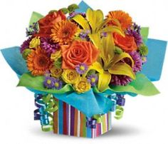 Rainbow Present Bouquet - At Jacqueline's Flowers & Gifts