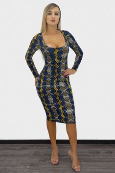 fdfa17fabe Shera Long Sleeve Snakeskin Print Midi Dress