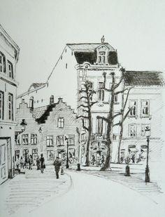 Simon Stevinplein, Brugge, Belgium - 2013    Ink pen on paper