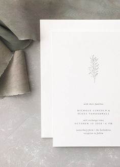 Instead of intricate, hand-painted florals or flourished calligraphy, sometimes a simple black-and-white line drawing of a sprig of greenery is all the embellishment you need. Invitation design by August + White.