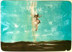 Fire-fargers litografi. Motivformat 60 x 43 cm.  Trykket på Arches Rives bomullspapir, 270 gram, hos Fredriksen Grafikk i Oslo.  Begrenset opplag på 80.