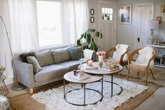 Especially if your place has carpet! Rugs are an easy way to cover up that not-so-cute carpet and can be packed up with you come your next move. Rugs are also a necessity to keep noise down, especially in older apartments with wood floors.  Source: Natalie Franke
