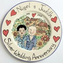 Silver Wedding Anniversary hand painted celebration plate