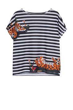 Tee-shirt marinière Paul & Joe avec imprimé tigre