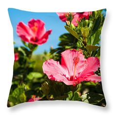 """Flowers Of Paradize Throw Pillow by Zina Zinchik.  Our throw pillows are made from 100% spun polyester poplin fabric and add a stylish statement to any room.  Pillows are available in sizes from 14"""" x 14"""" up to 26"""" x 26"""".  Each pillow is printed on both sides (same image) and includes a concealed zipper and removable insert (if selected) for easy cleaning."""