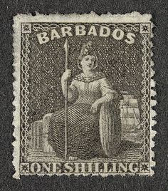 The first consignment of the 1/- stamp of the 1861-70 series, showing Britannia, were sent out to Barbados in 1863.