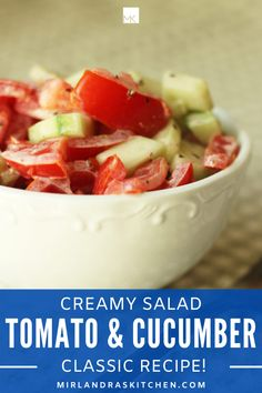 Do you remember that creamy, delicious tomato and cucumber salad your mom used to make? It was one of my childhood staples - full of salt, pepper, and plenty of creamy dressing! It was one of my favorite treats with fresh garden tomatoes. Today I make it for easy dinners or to serve at BBQs. Everybody loves this classic. #salad #garden #summerfood #easy #sidedish Frugal Meals, Easy Dinners, Kids Meals, Cucumber Tomato Salad, Creamy Cucumbers, Easy Summer Desserts, Summer Recipes, Summer Food, Garden Tomatoes