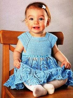 Free crochet patterns and video tutorials: Crochet Baby girl dress free pattern