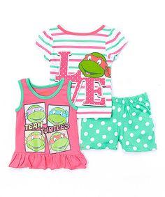 Look what I found on #zulily! Green & Pink 'Team Turtles' Tank Set - Toddler & Girls #zulilyfinds