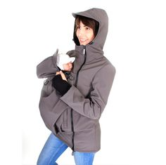 Viva la Mama | Baby Carrying Softshell Jacket ARIEL (3in1- grey, water-repellent, windproof). Outdoor jacket for pregnancy, maternity, baby wearing and everyday use. Mommy and baby are protected from rain, wind and cold. Perfect companion for outdoor and mountain moms!:)