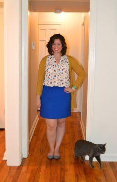 Whitney à la mode: Strawberry Print Top + Cobalt + Mustard Cardi