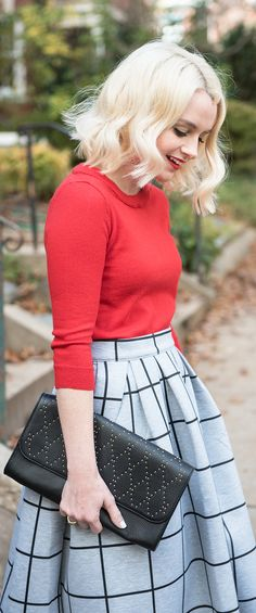WHAT TO WEAR TO THANKSGIVING DINNER - HOW TO STYLE A GRAY CHECK MIDI SKIRT - POOR LITTLE IT GIRL