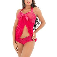 CINDY LOVER Womens Summer Sexy Nightwear Chemise Transparent Lace Bodysuit Dress Red Medium *** Click for Special Deals #BabydollDress