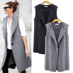 New Women Casual Sleeveless Long Duster Coat Jacket Cardigan Suit Vest Waistcoat #Unbranded #Vest