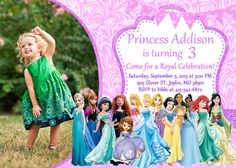 Disney Princess Invitation Birthday - Disney Princess Party