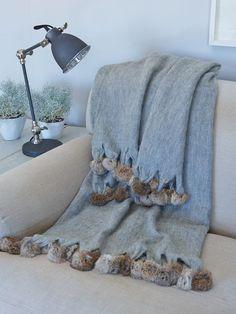 Fur pompoms, industrial style lamp