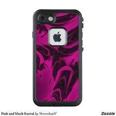 Pink and black fractal LifeProof FRĒ iPhone 7 case, photo, photography, artwork, buy, sale, gift ideas, pink, black, spots, fractal, magenta, bright, purple, colorful, dark, abstract,  skin, skins, case, cases, gadget, gadgets, decor, design,  apple, phone, phones,  iphone