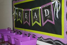 Inspire your students to Read with this colorful chalk banner hung over a classroom library!  Here we have the Chalk It Up! Pennants in lime green and purple and borders from both chalkboard borders and colorful ones from the Painted Palette collection. FUNctional Uses Gallery
