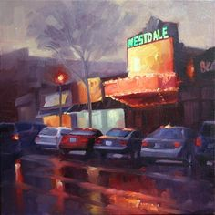 """Daily Paintworks - """"Movie Night at The Westdale Theatre, Hamilton"""" - Original Fine Art for Sale - © Catherine Jeffrey"""