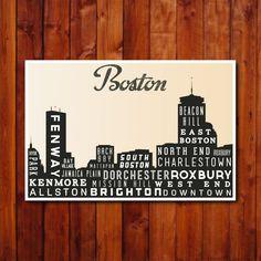 BOSTON Typographic Skyline Print, Typography Poster, Retro Wall Art,  Modern Home Decor, Wall Art. $30.00, via Etsy.