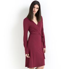 Vestido traçado, evasé, mangas compridas, stretch Laura Clement | La Redoute