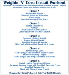 Weights 'N' Core Circuit Workout via Howard Howard Perkins-FitnessPerks Circuit Training Workouts, Fun Workouts, Total Body Workouts, Circuit Workouts, Tabata Workouts, Workout Exercises, Fitness Exercises, Karl Lagerfeld, Plie Squats