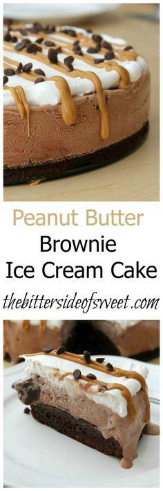 Erdnussbutter Brownie Ice Cream Cake theBitterSideofSweet Cassidys likes Brownie Ice Cream, Ice Cream Treats, Ice Cream Desserts, Frozen Desserts, Ice Cream Recipes, Fun Desserts, Frozen Treats, Ice Cream Cakes, Cream Cookies