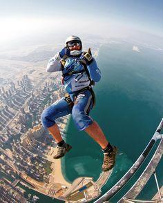 Skydive-exit above Dubai! #skydivedubai #palmjumeirah…