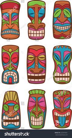 stock-vector-hawaiian-tiki-god-classic-carved-wood-statues-set-of-icon-illustrations-222879361.jpg (842×1600)